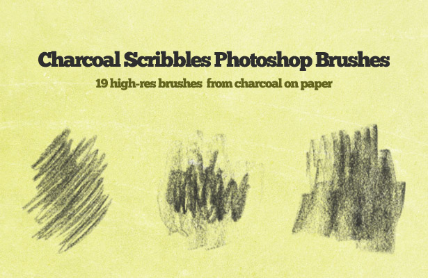 Charcoal Scribbles Photoshop Brushes