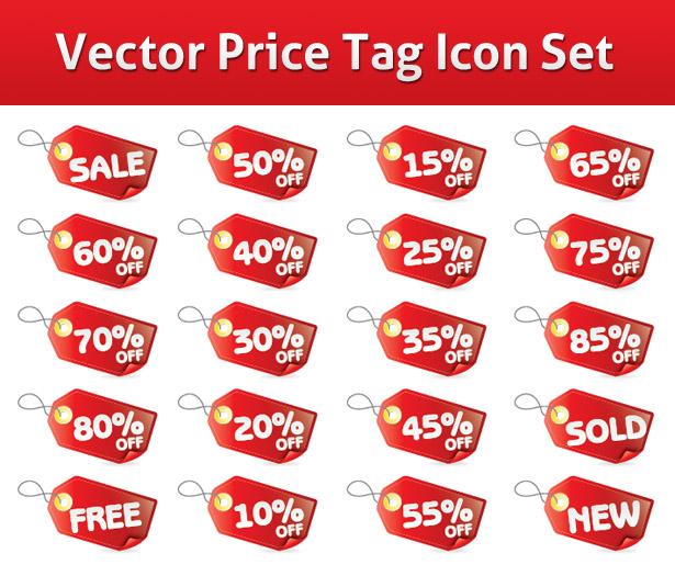 Vector Price Tag Icon Set